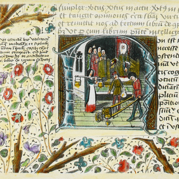 Sierletter N. De controle van melk en wijn. Miniatuur van het Dresdener Galenus handschrift, einde 15de eeuw