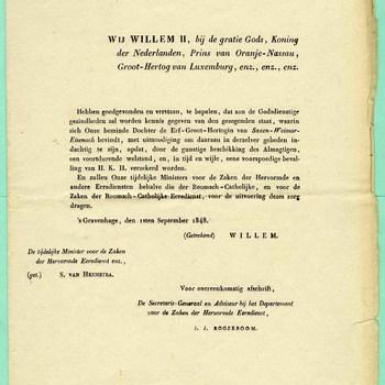 brief van koning Willem II, met de aankondiging van de zwangerschap van de Erf-Groot-Hertogin van Saxen-Weimar-Eisenach, op 1 september 1848