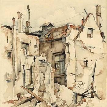 Aquarel, voorstellende enkele zwaar gehavende panden te  Tiel, na de verwoesting in de Tweede Wereldoorlog, vervaardigd door Lies Veenhoven, 1945