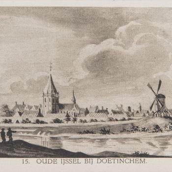 Reproductieprent, voorstellende de Oude IJjssel bij Doetinchem, vervaardigd door Emrik & Binger drukker te Haarlem en uitgegeven door Gouda Quint teArnhem 1922