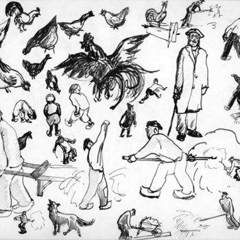 Tekening, voorstellende verschillende schetsen van  boeren, kinderen en pluimvee, vervaardigd door Jan van Anrooy te Rumpt