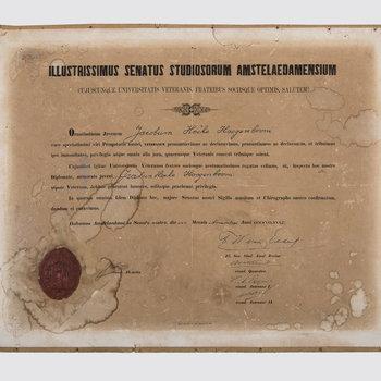 Oorkonde van de promotie van Jacobus Hocke Hoogenboom, huisarts te Culemborg, 1882