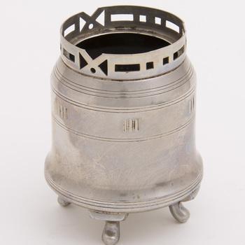 Theeservies van vernikkeld metaal, vervaardigd door Metaalwarenfabriek Daalderop te Tiel, ca. 1915