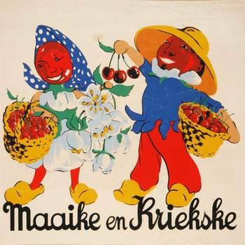 Aquarel, voorstellende Maaike en Kriekske de 'ereburgers' van Tiel, vervaardigd door Job van Eijk te Tiel, 1930-1950