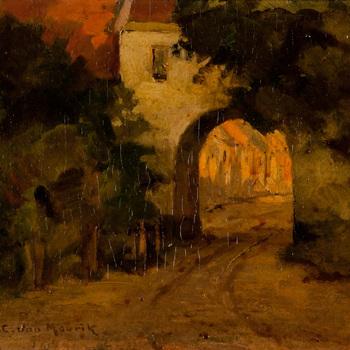Schilderij, olieverf op paneel, voorstellende de stadspoort van Buren, vervaardigd door H.C. van Mourik te Tiel, 1900-1940