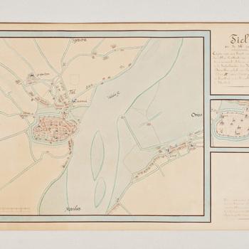 Lithografie voorstellende een plattegrond van Tiel, naar Jacob van Deventer (ca. 1560), vervaardigd door Rotteveel in opdracht van de Algemeen Rijksarchivaris, 1910,  werktitel