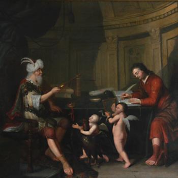 Schilderij, olieverf op doek, met een allegorische voorstelling van een rechter, vervaardigd door Willem van Kessel te Tiel, 1723