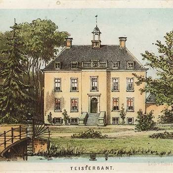 Ets, voorstellende Huize Teisterbant te Kerk-Avezaath, vervaardigd door Lub van Emrik & Binger