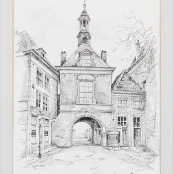 Tekening met afbeelding van de Waterpoort te Tiel, vervaardigd door Lies Veenhoven te Tiel