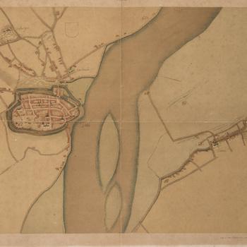 Lithografie, voorstellende een kaart van Tiel met stratenplan en belangrijke gebouwen, naar origineel door Jacob van Deventer uit 1560-1565, vervaardigd door J. Smulders & Co. te 's-Gravenhage, 1910