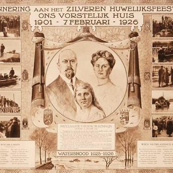 Lithografie, voorstellende afbeeldingen van Koningin Wilhelmina, Prins Hendrik en Prinses Juliana, 1926