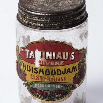 Jampot met schroefdeksel van  Taminiau, roode bessen jam,  werktitel