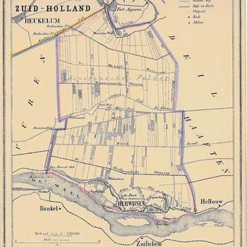 Lithografie, voorstellende een kaart van de gemeente Herwijnen, vervaardigd door Hugo Suringar te Leeuwarden, 1867