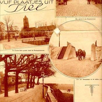 Tijdschriftpagina, voorstellende 5 plaatjes van Tiel, afkomstig uit Gelderland in Woord en Beeld, 1920-1930