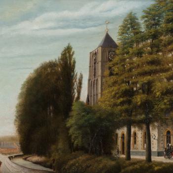 Schilderij, olieverf op doek, voorstellende een stadsgezicht met St.Maartenskerk en school A te Tiel, vervaardigd door J. van Oyen te Tiel, 1906-1918,  werktitel