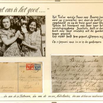Collage in passepartout met briefkaart en foto Suus van Buuren, 1942/1943,  werktitel