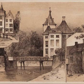 Lithografie, voorstellende kasteel te Echteld; kasteel te Zoelen; stadspoort te Buren, vervaardigd door P.A. Schipperus te Den Haag, 1870-1880