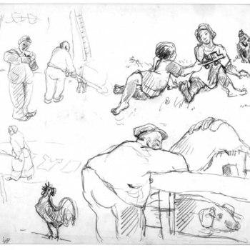 Tekening, voorstellende verschillende schetsen van het boerenleven, vervaardigd door Jan van Anrooy te Rumpt, 1948