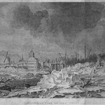 Gravure, voorstellende kruiend ijs voor de stad Tiel, vervaardigd door de tekenaar C. van Hardenbergh te Utrecht en de graveurs Vinkeles en Brouwer, 1799