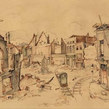 Aquarel, voorstellende de Groenmarkt te Tiel, na de verwoesting in de Tweede Wereldoorlog, vervaardigd door Lies Veenhoven, 1945