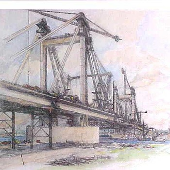 Ets, ingekleurd, voorstellende de Prins Willem-Alexanderbrug bij Echteld in aanbouw, vervaardigd door W.v.d.Anker te Tiel, 1975,  werktitel