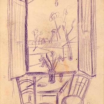 Tekening, voorstellende het interieur van een boerderijkamer bij Havekes te Beesd, vervaardigd door Jan van Anrooy uit Rumpt, 1953