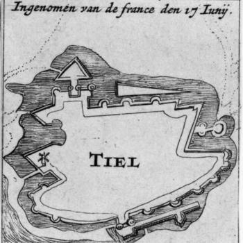 Kopergravure, voorstellende plattegrond van de oude stad Tiel, 1672