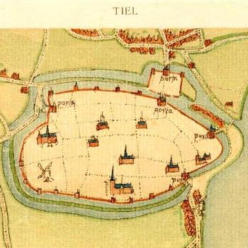 Lithografie in kleur,voorstellende gebouwenkaart van Tiel, naar origineel uit ca. 1560 van Jacob van Deventer, uitgegeven door R. Fruin, 1916-1923