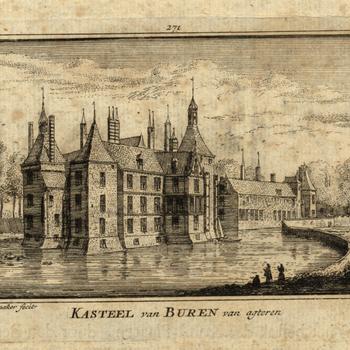 Kopergravure, voorstellende twee afbeeldingen van het kasteel van Buren, vervaardigd door A. Rademaker te Amsterdam, 1719