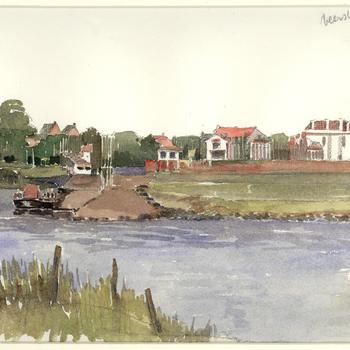 Aquarel, voorstellende gezicht op Tiel met veerstoep, stadsmuur en huizen op de Tolhuiswal, vervaardigd door W. van den Anker te Tiel, 1980-1990,  werktitel