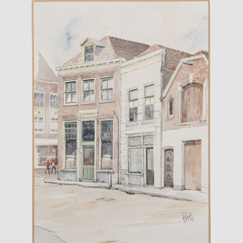 Aquarel, voorstellende de voormalige slijterij van Gessel aan de Westluidensestraat te Tiel, vervaardigd door W. van de Anker te Tiel, 1979,  werktitel