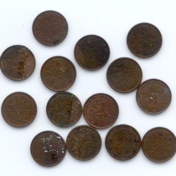 Munt, 14 stuks, 1/2 cent met Ned. Leeuw, 1903-1940