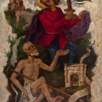 Schilderij, olieverf op doek ,voorstellende de St. Maarten die zijn mantel deelt met een bedelaar, vervaardigd door Johan Ponsioen, circa 1940