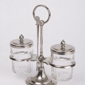 Zuurstel van verchroomd metaal en glas, vervaardigd door Daalderop te Tiel, ca.1925-1929