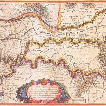 Reproductie, voorstellende kaart van de Neder-Betuwe, Tielerwaard en Betuwe, 1944