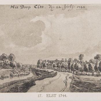 Reproductieprent, voorstellende het dorp Elst,  vervaardigd door Emrik & Binger drukker te Haarlem en uitgegeven door Gouda Quint te Arnhem 1922