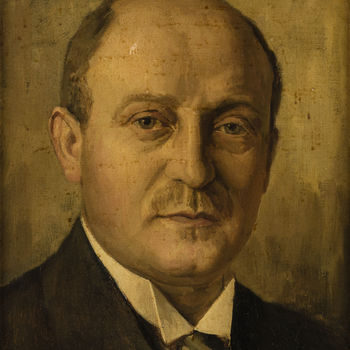 Schilderij, olieverf op paneel, met voorstelling van Lodewijk Zelle, vervaardigd door H.C. van Mourik te Tiel, 1926