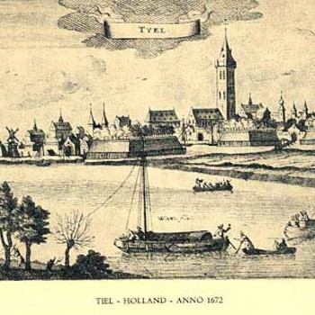 Ets, voorstellende gezicht op Tiel vanaf de Waal,  reproductie naar G. Bouttats te Antwerpen, 1672