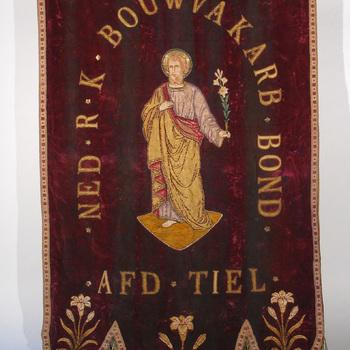 Vaandel van de Ned. R.K. Bouwvakarb. Bond  Afd. Tiel,  ca.1925