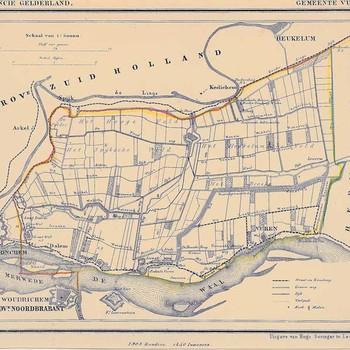 Lithografie, voorstellende een kaart van de gemeente Vuren, uitgegeven door Hugo Suringar te Leeuwarden, 1865