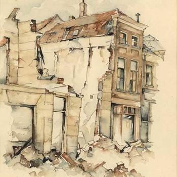 Aquarel, voorstellende het Plein te Tiel, na de verwoesting in de Tweede Wereldoorlog, vervaardigd door Lies Veenhoven, 1945