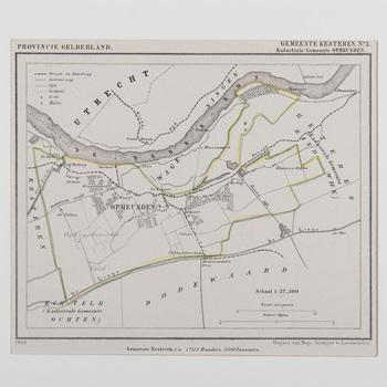 Lithografie, voorstellende een kaart van de gemeente Opheusden, vervaardigd door Hugo Suringar, 1868