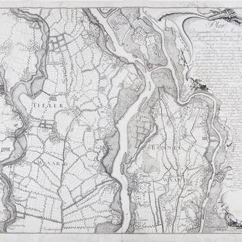 Kopergravure, voorstellende een kaart van een deel van de Tielerwaard van Zennewijnen tot Haaften; een deel van de Bommelerwaard van de Voorn tot Well, vervaardigd door H.J. Martens, 1795-1800