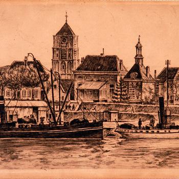 Kopergravure, voorstellende Tiel vanaf de Waalzijde gezien,  werktitel