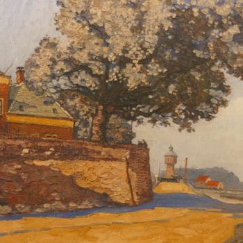 Schilderij, olieverf op hout, voorstellende de stadsmuur met op de achtergrond de watertoren, Tiel van voor 1945, gesigneerd AP,  werktitel