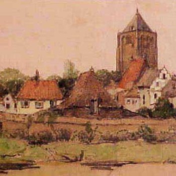 Aquarel, voorstellende de Oude Haven met stadsmuur en St.Maartenskerk te Tiel, vervaardigd door Willem Witjens, 1920,  werktitel