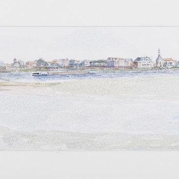 Aquarel met voorstelling van de stad Tiel, gezien vanaf de Waal