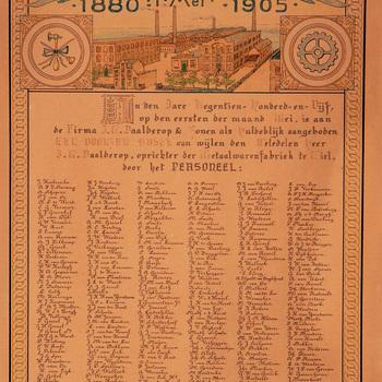 Personeelslijst t.g.v. het 25 jarig jubileum van Daalderop te Tiel, 1905