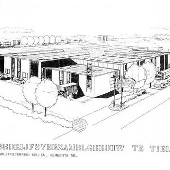 Offsetdruk, voorstellende een bedrijfsverzamelgebouw op het industrieterrein Kellen te Tiel, 1980-1985