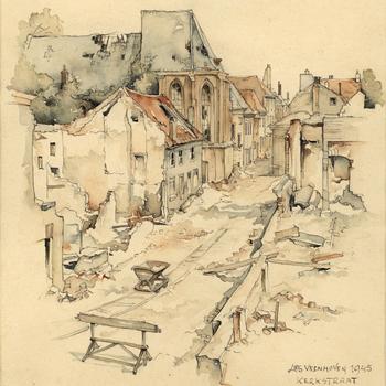 Aquarel, voorstellende de Kerkstraat te Tiel, na de verwoesting in de Tweede Wereldoorlog, vervaardigd door Lies Veenhoven, 1945